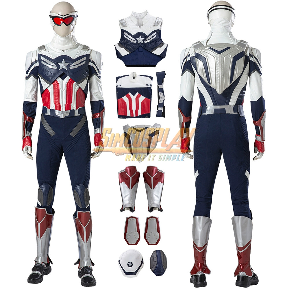 Captain America The Falcon Sam Wilson Cosplay Costumes Top Level