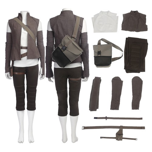 Star Wars 8 The Last Jedi Rey Outfits Cosplay Costume Full Set