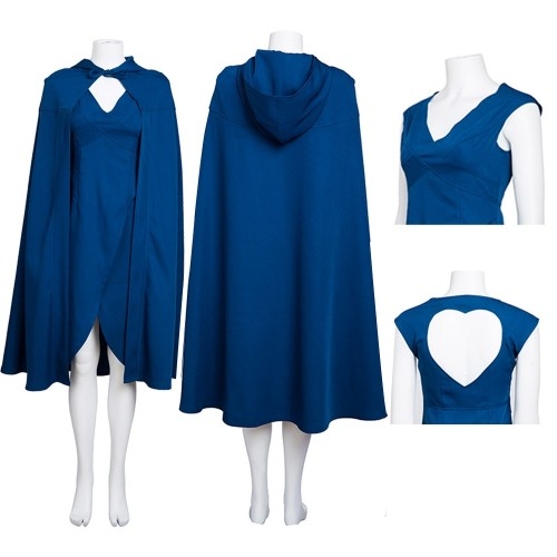 Daenerys Targaryen Mother of Dragons Blue Dress Cosplay Costume Top Level