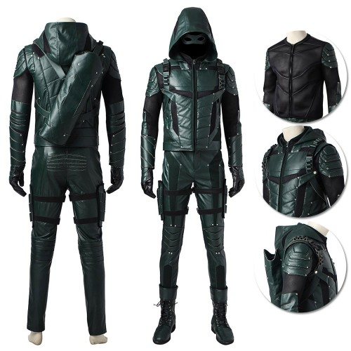 Arrow Season 5 Oliver Queen Cosplay Costume Faux Leather Edition