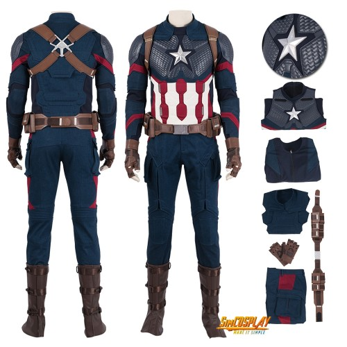 Avengers Endgame Captain America Cosplay Costume Steve Rogers Suit Top Level