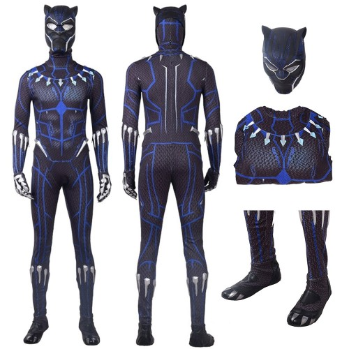 Black Panther T'Challa Blue Jumpsuit Cosplay Costume 2018
