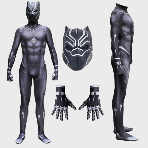 Black Panther Cosplay Costume Spandex Zentai Jumpsuit