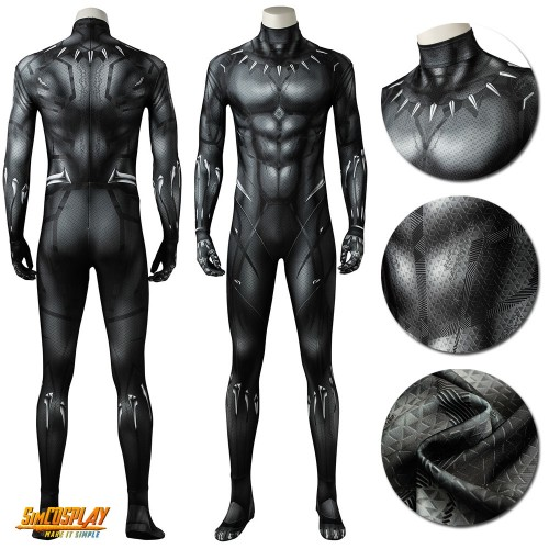 Black Panther Cosplay Costume T'challa Classic Printed Black Suits Sac3981