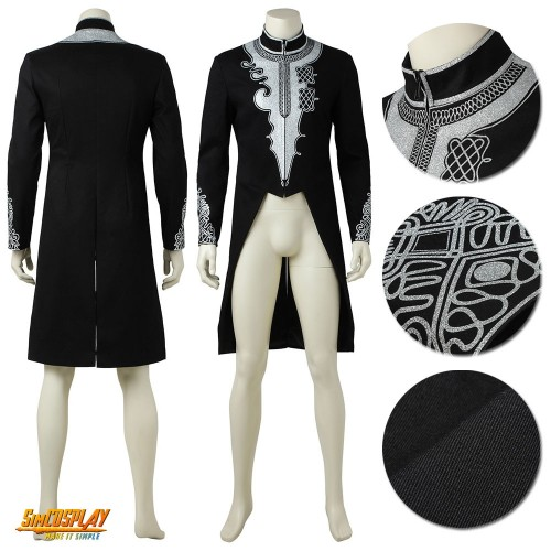 Black Panther Costume Wakanda Royal Cosplay Long Coat Sac4009