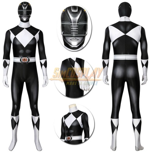 Black Power Rangers Cosplay Costume HQ Printed Spandex Suit Edition