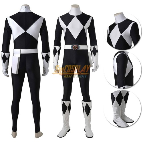 Black Ranger Costume Mighty Morphin Power Rangers Zachary Taylor Suit Top Level