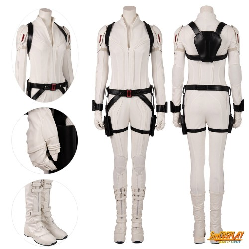 Black Widow White Costumes Natasha Romanoff Cosplay White Suits Top Level