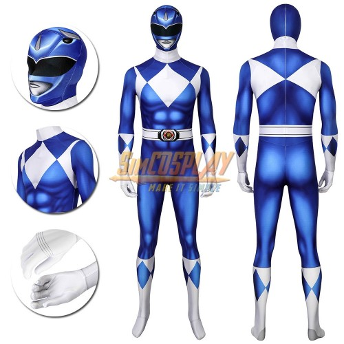 Blue Ranger Cosplay Suit Power Rangers Blue HQ Printed Spandex Costume