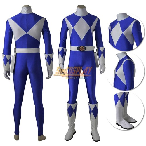 Blue Ranger Costume Mighty Morphin Power Rangers Billy Cranston Cosplay Suit