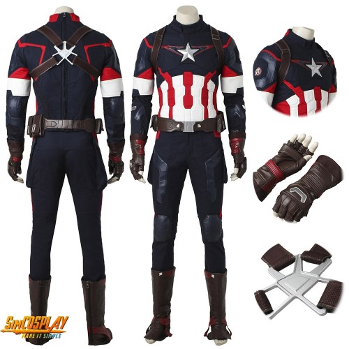 Captain America Costume Age of Ultron Cosplay Suit Classic Edition