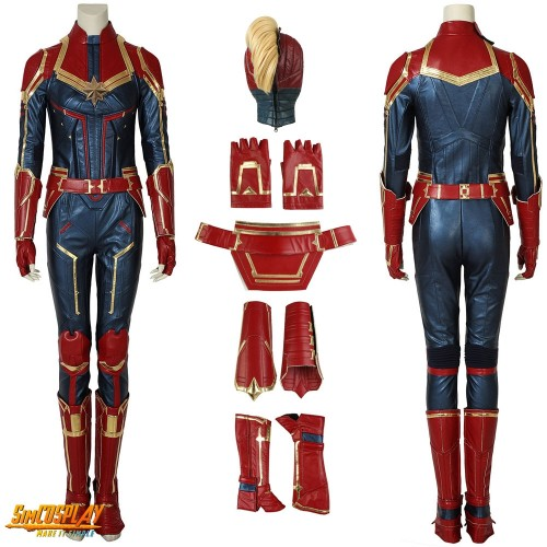 Captain Marvel Carol Danvers Costume Dark Color and Shoes Cover Cosplay Edition