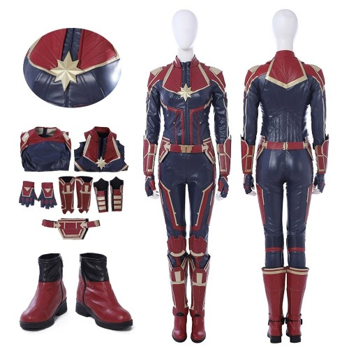 Captain Marvel Carol Danvers Cosplay Costume Red Version