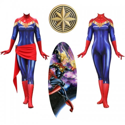 Captain Marvel Spandex Cosplay Costume Zentai Jumpsuit