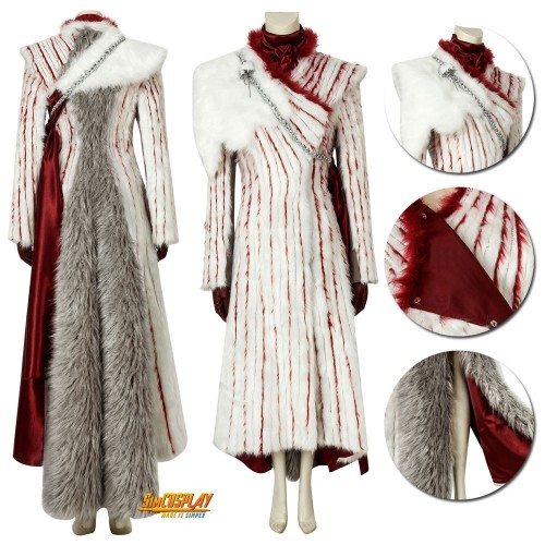 Daenerys Targaryen Costume With Shawl GOT Season 8 Cosplay Deluxe Suits Sac4415