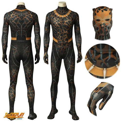 Erik Killmonger Cosplay Suits Black Panther Printed Cosplay Costume Sac4083