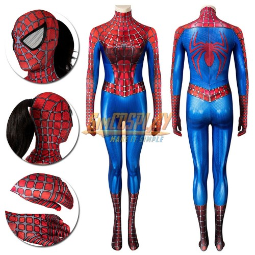 Female Spider-man Cosplay Suit Classic Tobey Maguire 3D Printed Edition Spandex Costume
