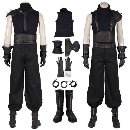 FFVII Remake Cloud Cosplay Costumes Black Suits Top Level