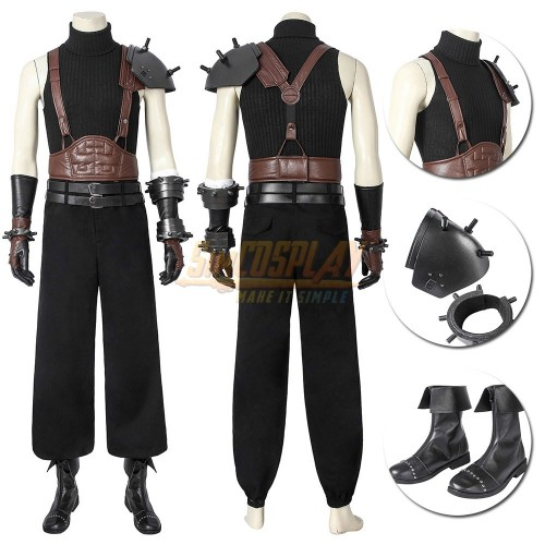 Final Fantasy VII RE Cloud Cosplay Costumes Brown Belts Edition