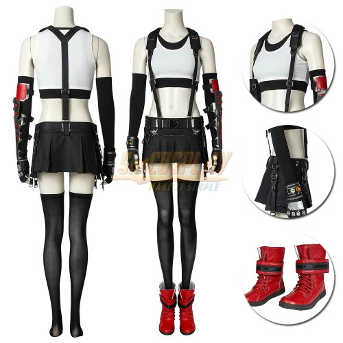 Final Fantasy VII Remake Tifa Cosplay Costumes Light Red Edition