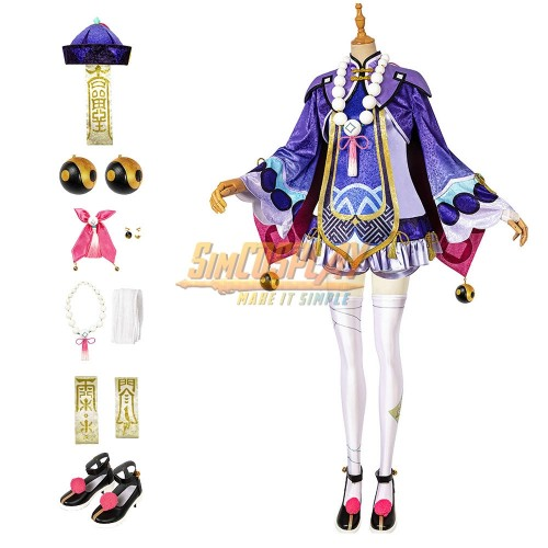 Genshin Impact Qiqi Cute Purple Cosplay Costumes Top Level