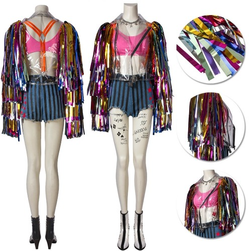 Harley Quinn Costume Birds of Prey Rainbow Cosplay Outfits Top Level