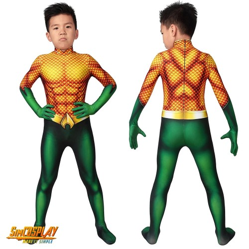 Kids Aquaman Cosplay Costume Arthur Curry Spandex Suit For Children SKD19014