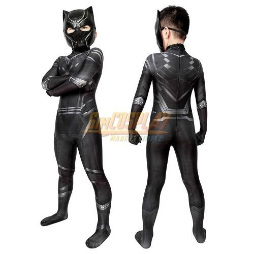 Kids Black Panther Cosplay Costume Civil War Edition For Children Halloween