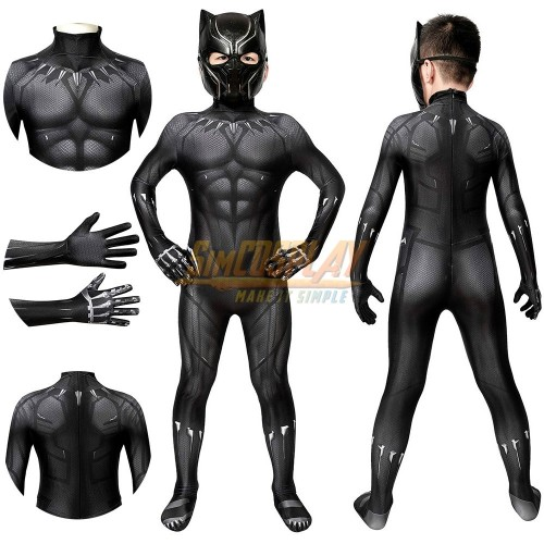Kids Black Panther Cosplay Costume Endgame Edition For Children Halloween