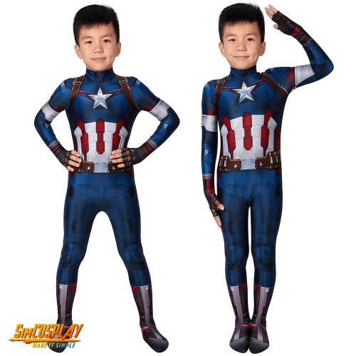 Kids Captain America Cosplay Costume Age of Ultron Spandex Suit For Children SKD19032