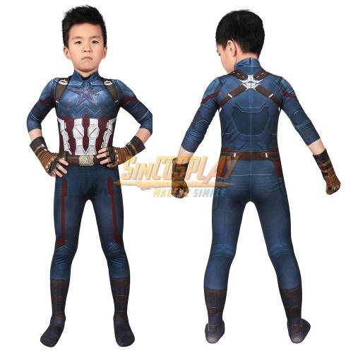 Kids Captain America Cosplay Suit Avengers Infinity War 3D Printed Version