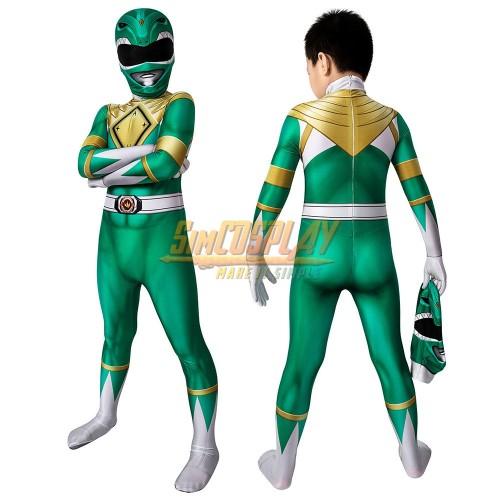Kids Green Ranger Cosplay Suit Power Rangers Green HQ Printed Spandex Costume