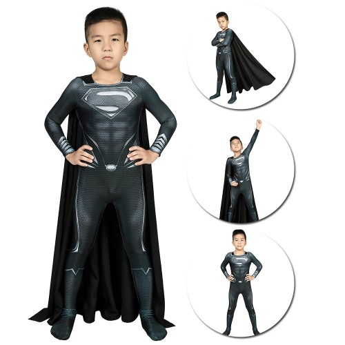 Kids Superman Black Suit Black Superman Cosplay Costume For Children SKD19045