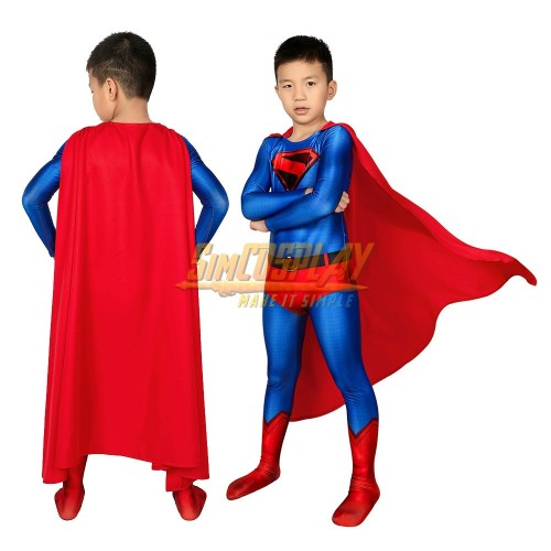 Kids SuperMan Cosplay Suit Crisis on Infinite Earths Printed Spandex Halloween Costume