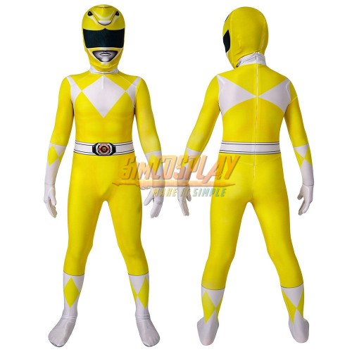 Kids Yellow Ranger Cosplay Suit 3D Spandex Costume Halloween Gifts for Children