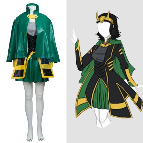 Loki Female Cosplay Costume Full Set Top Level