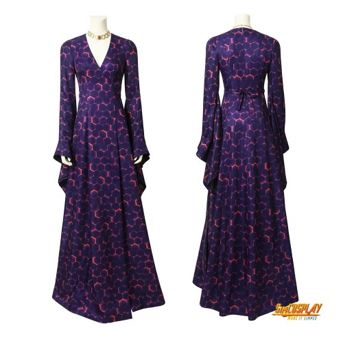 Melisandre Cosplay Costume Game of Thrones Season 8 Purple Printed Maxi Skirt
