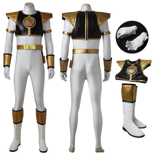 Mighty Morphin Power Rangers White Ranger Cosplay Costume Tommy Oliver Suit