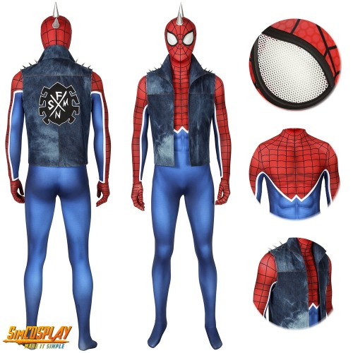 Punk-Rock Spidey Cosplay Costume Hobart Brown Spider-Man Suit Sac4216