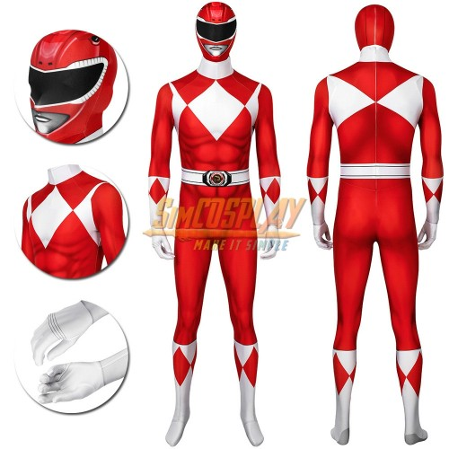Red Ranger Cosplay Suit Power Rangers Red HQ Printed Spandex Costume