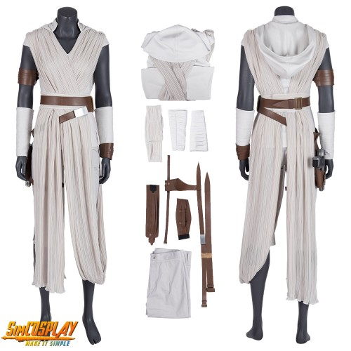 Rey Cosplay Costume Star Wars The Rise Of Skywalker White Suits Top Level