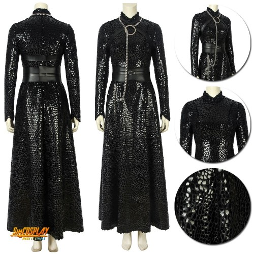 Sansa Stark Cosplay Costumes GOT S8 Black Scale Dress Sac194425