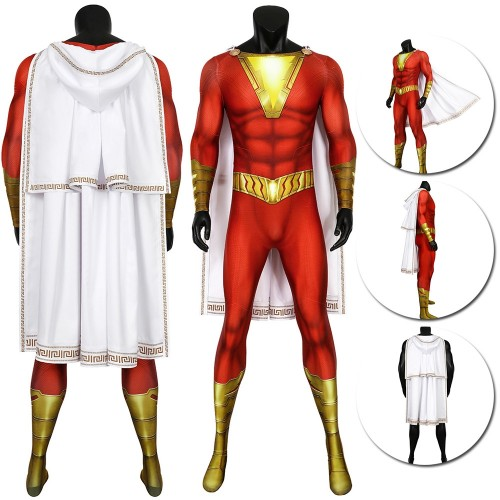Shazam Cosplay Suit HQ Printed Shazam Spandex Costume With Cloak