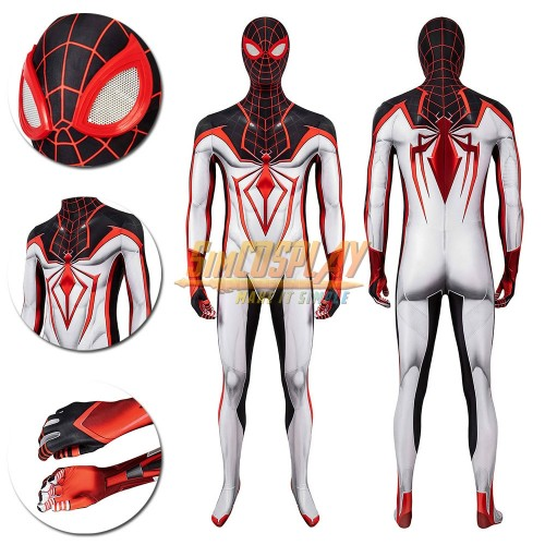 Spider-man Tracksuit The Latest Spiderman Miles Morales White Cosplay Costume