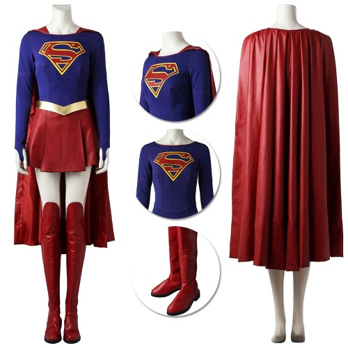 Supergirl Cosplay Costume Classic Red Faux Leather Cloak Suit
