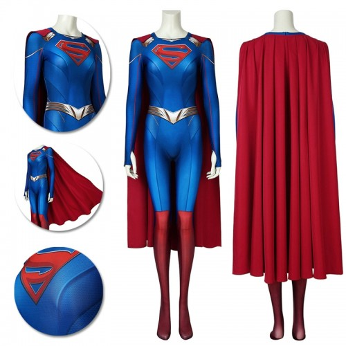 Supergirl S5 Cosplay Suit Kara Zor-El 3D Printed Jumpsuit with Cloak
