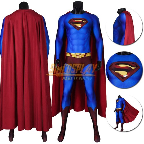 Superman Costume Crisis on Infinite Earths Blue Cosplay Suit With Cloak