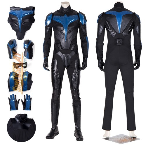 Titans Nightwing Costume Dick Grayson Leather Cosplay Suit Top Level Ver.2
