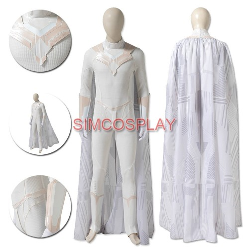 White Vision Cosplay Costumes WandaVision Dress Up Suit Custom Size Supported