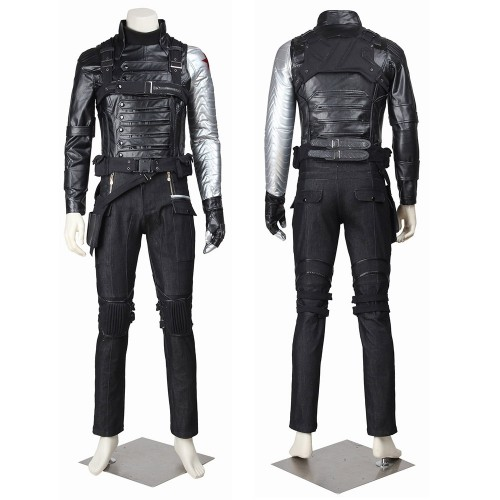 Winter Soldier Cosplay Costume Bucky Barnes Battle Suit Top Level